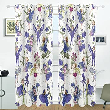 ALIREA Periwinkle Patterns Blackout Curtains Darkening Thermal Insulated Polyester Grommet Top Blind Curtain For Bedroom