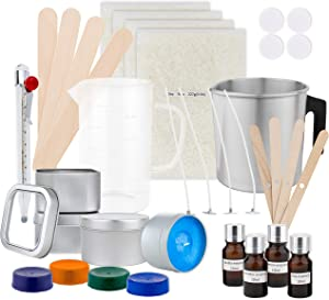 DIYARTZ DIY Candle Making Kit Supplies – Makes Four Scented Soy Candles – Includes Wax, Tins, Wicks, Pouring Pitchers, Fragrances, Dyes, Stirring Sticks, Thermometer – Candles Art & Craft Set