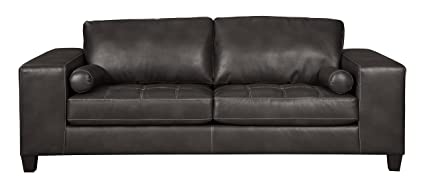 Ashley Furniture Signature Design - Nokomis Contemporary Faux Leather Sofa  Sleeper - Queen Size Mattress Included - Charcoal