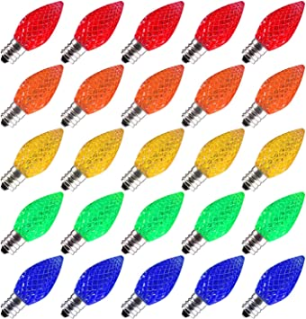 25 Pack C7 Led Replacement Christmas Light Bulb C7 Shatterproof Led Bulbs For Christmas String Lights E12 Candelabra Base Commercial Grade Dimmable Holiday Bulbs Multicolor Amazon Com