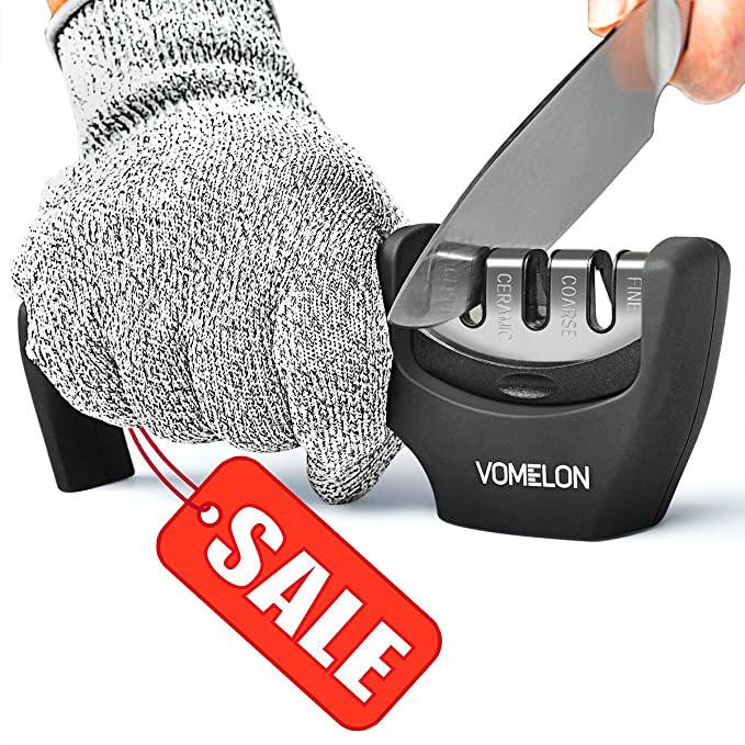Kitchen Knife Sharpener, 3-Stage Diamond Knife Sharpener Tool to Repair and Polish Dull Knife, Professional Knife Sharpener for Any Type Knives, Ergonomic Handle, Glove Included, Safe and Easy to USE