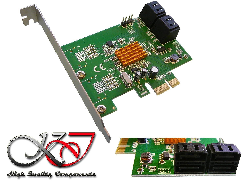 Kalea Informatique –  Tarjeta controlador PCI Express (PCI-E) –  4 puertos SATA 3 –  Chipset Marvell 88SE9215 –  para disco duro, grabadora y SSD –  Windows Mac