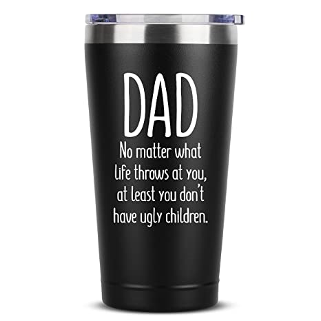 Buy Dad Ugly Children 16 Oz Black Insulated Stainless Steel Tumbler W Lid Mug Cup For Men Birthday Fathers Day Christmas Gift Ideas From Daughter Son Wife Father Dads Padre