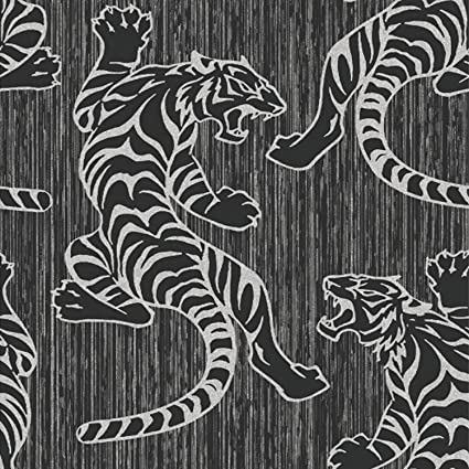 Animal Print - Tiger - Black/Silver - Wallpaper
