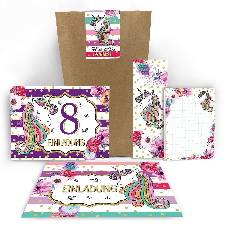 Kindergeburtstag M/ädchen Jungen Tablet 12 Einladungskarten zum 8 Einladungen zum achten Geburtstag