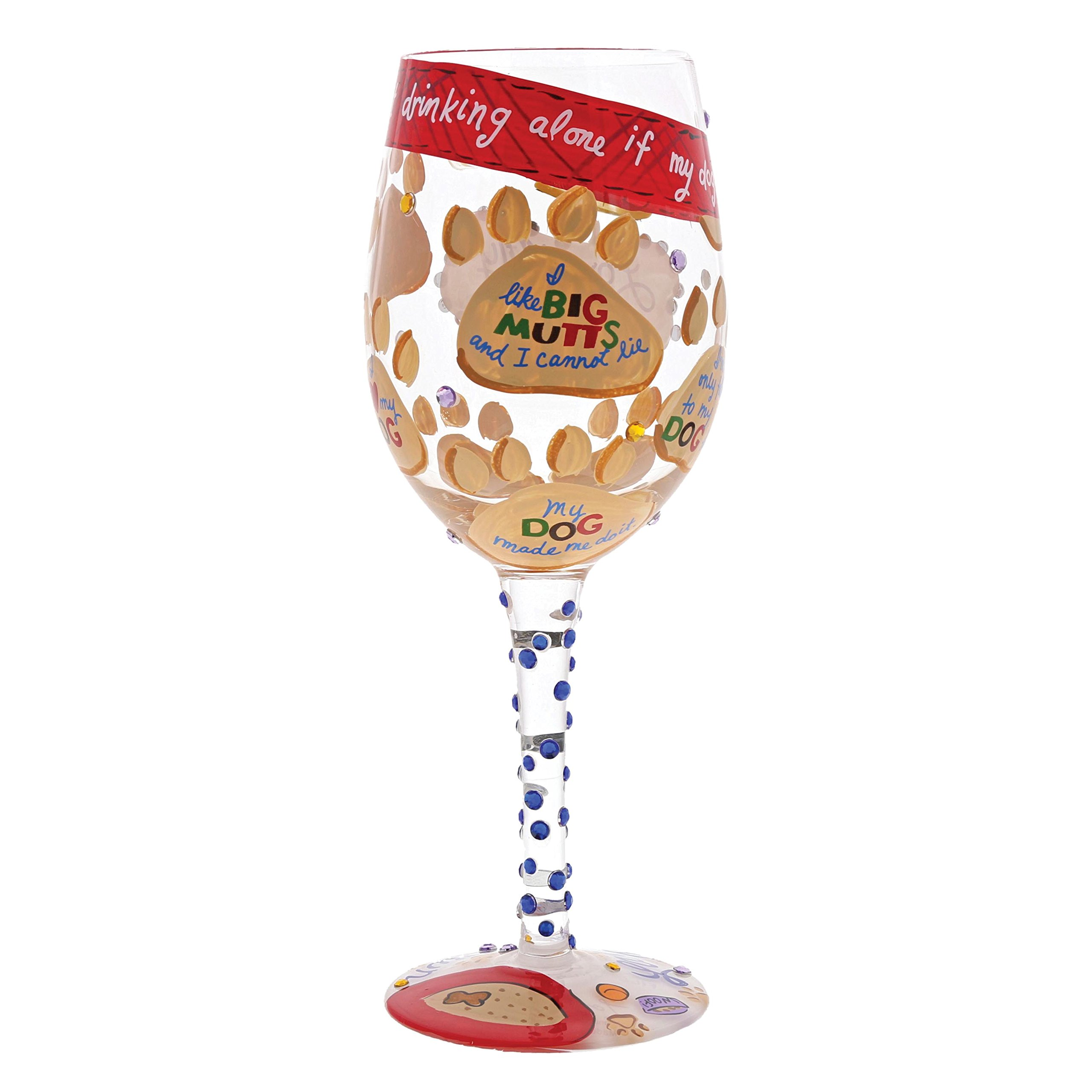 "29923e55c7e Designs by Lolita ""Love My Dog"" Hand-painted Artisan Wine Glass"