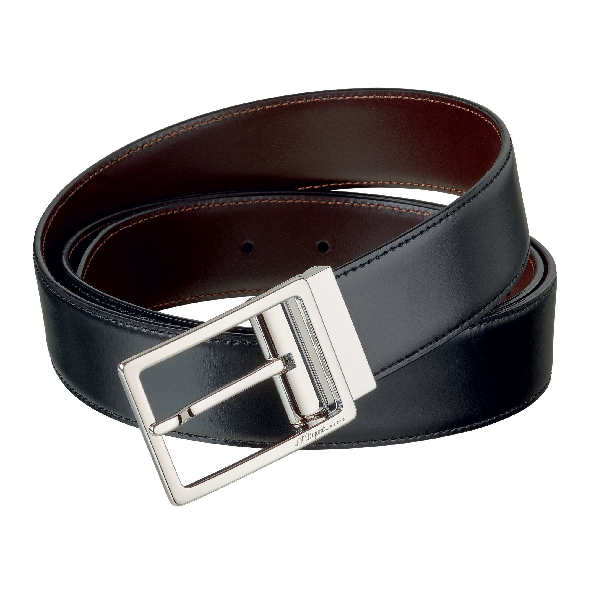S.T. Dupont 9490120 Palladium Auto-Reversible Buckle Business Belt