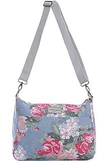 50482e36d Reversible Messenger Cross Body Canvas Zip Shoulder Bag Floral Owl Spot Rose