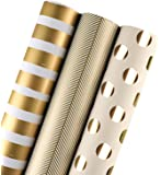 Laribbons Gift Wrapping Paper Set - 3 Roll, 30 inch 120 inch per Roll (Gold)