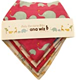 Premium Baby Bandana Bibs, 100% Organic Cotton, Set of 5 Unique Designs (Girls Set)