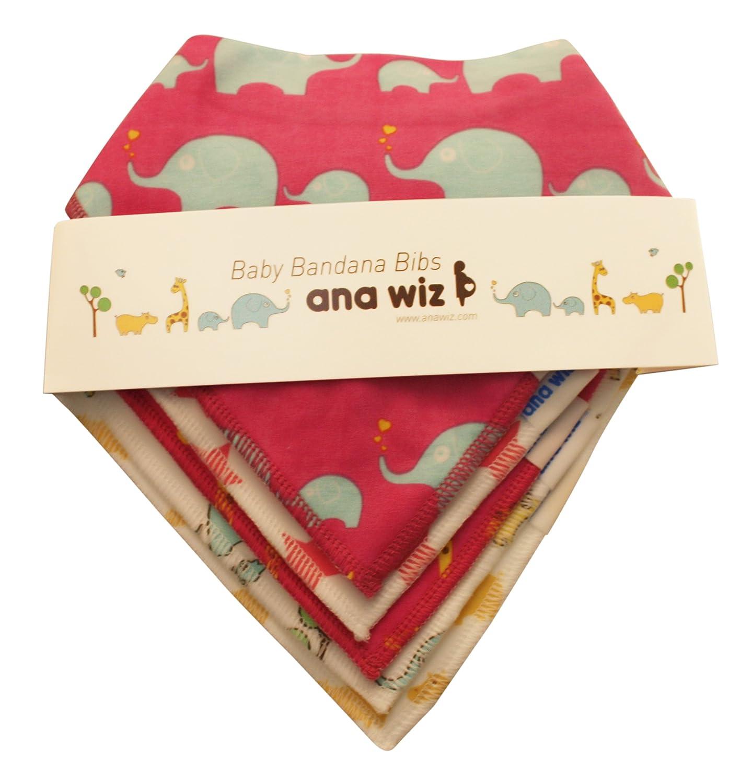 Premium Baby Bandana Bibs, 100% Organic Cotton, Set of 5 Unique Designs (Boys Set) Ana Wiz Ana Wiz LTD