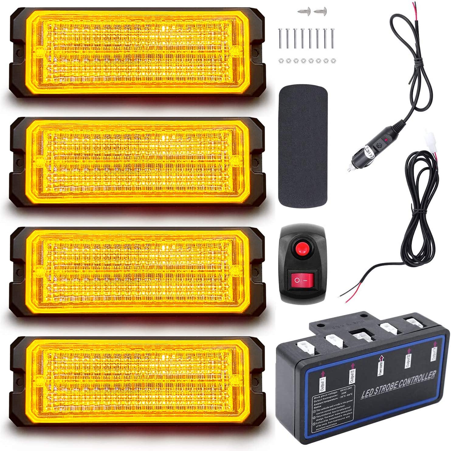 Led Warning Lights 4pcs Emergency Warning Caution Hazard Construction Ultra Slim Sync Feature Car Truck with Main Control Box Surface Mount Amber