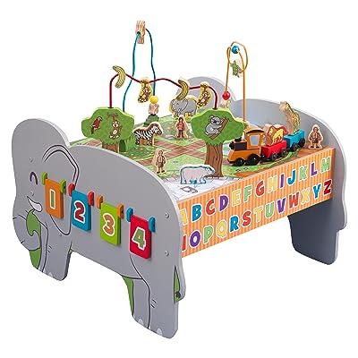 KidKraft 17508 Mesa de actividades de madera para niños Deluxe, juego educativo con tren, animales y laberinto de cuentas incluidos: Juguetes y juegos