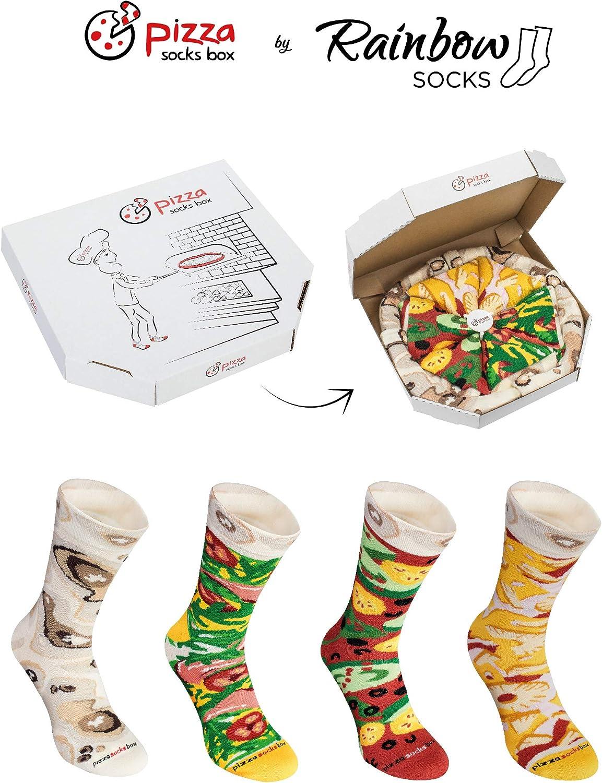 4 Pairs Cotton Dress Socks Funny Gift Unisex Pizza Socks Box MIX Hawaii Italian Vege
