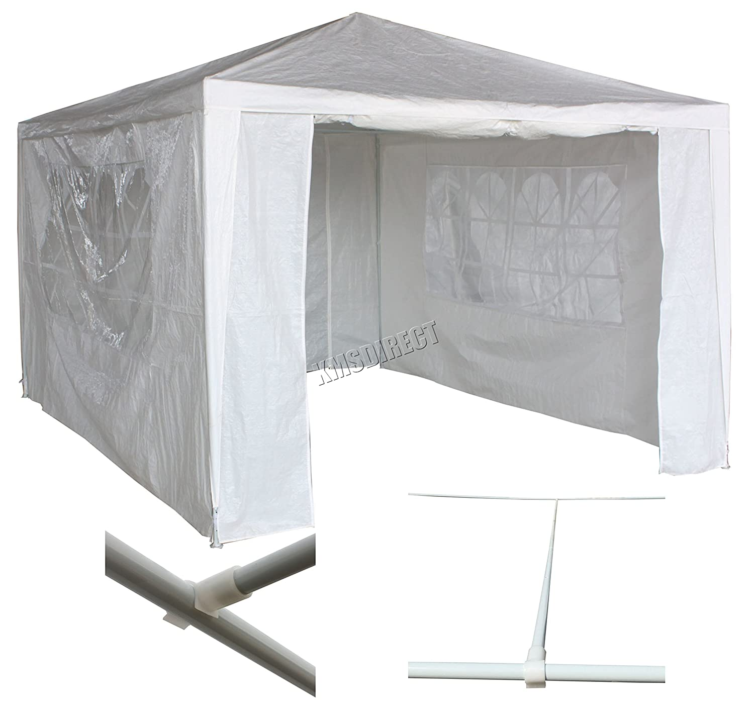 FoxHunter Waterproof 3m x 4m PE Gazebo Marquee Awning Party Tent Canopy White 120g Polyester Power Coated Steel Frame With Support Beam