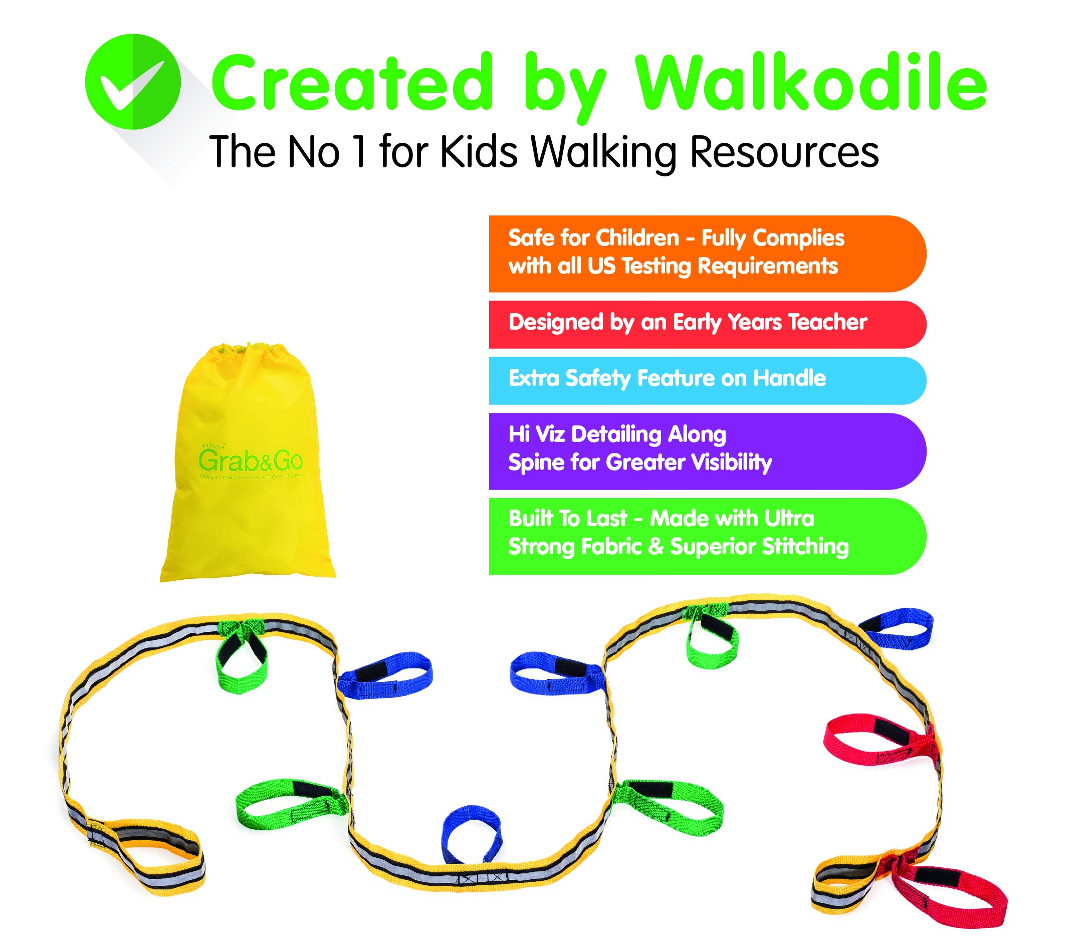 Kids Walking Rope (10 Child). Teacher Designed, Premium Quality. Extra Safety Feature on Handles. Hi Viz Detail. Includes Free Learning Games for Walks Guide