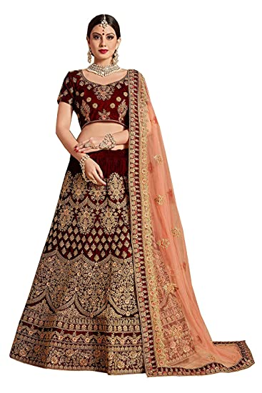 3a506b1bdf Prexxi Designer Pure Velvet & Net Bridal Lehenga Choli for girls(Maroon,  Free size): Amazon.in: Clothing & Accessories