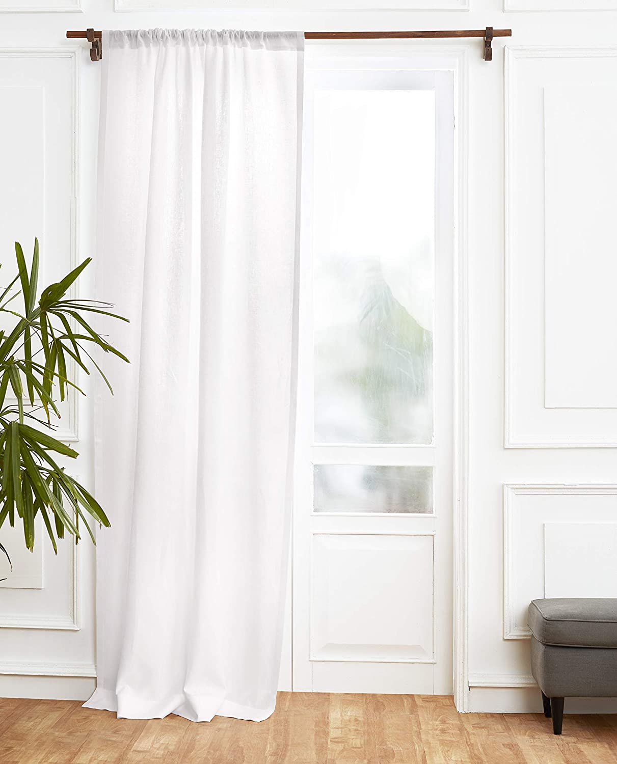 Solino Home 100% Pure Linen Curtain – 52 x 108 Inch White Lightweight Rod Pocket Window Panel – Handcrafted from European Flax