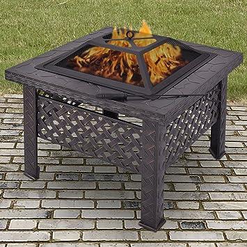 CitySales Quemador de leña cuadrado grande para exteriores, jardín, patio, estufa, barbacoa, chimenea: Amazon.es: Jardín