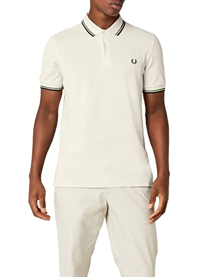 96242565 Fred Perry Men's Twin Tipped Shirt Polo, Beige (Ecru/Green/Black F79