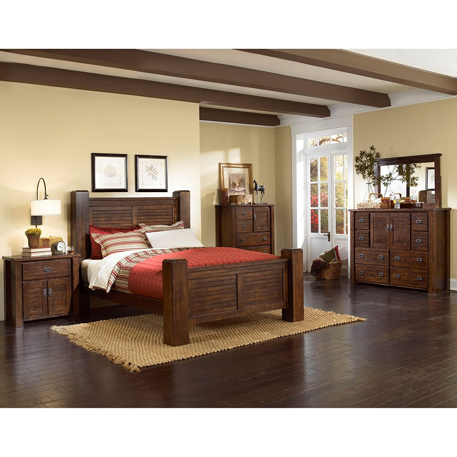 pine bedroom set. Amazon com  Progressive Furniture Trestlewood Nightstand 31 x 17 Mesquite Pine Kitchen Dining
