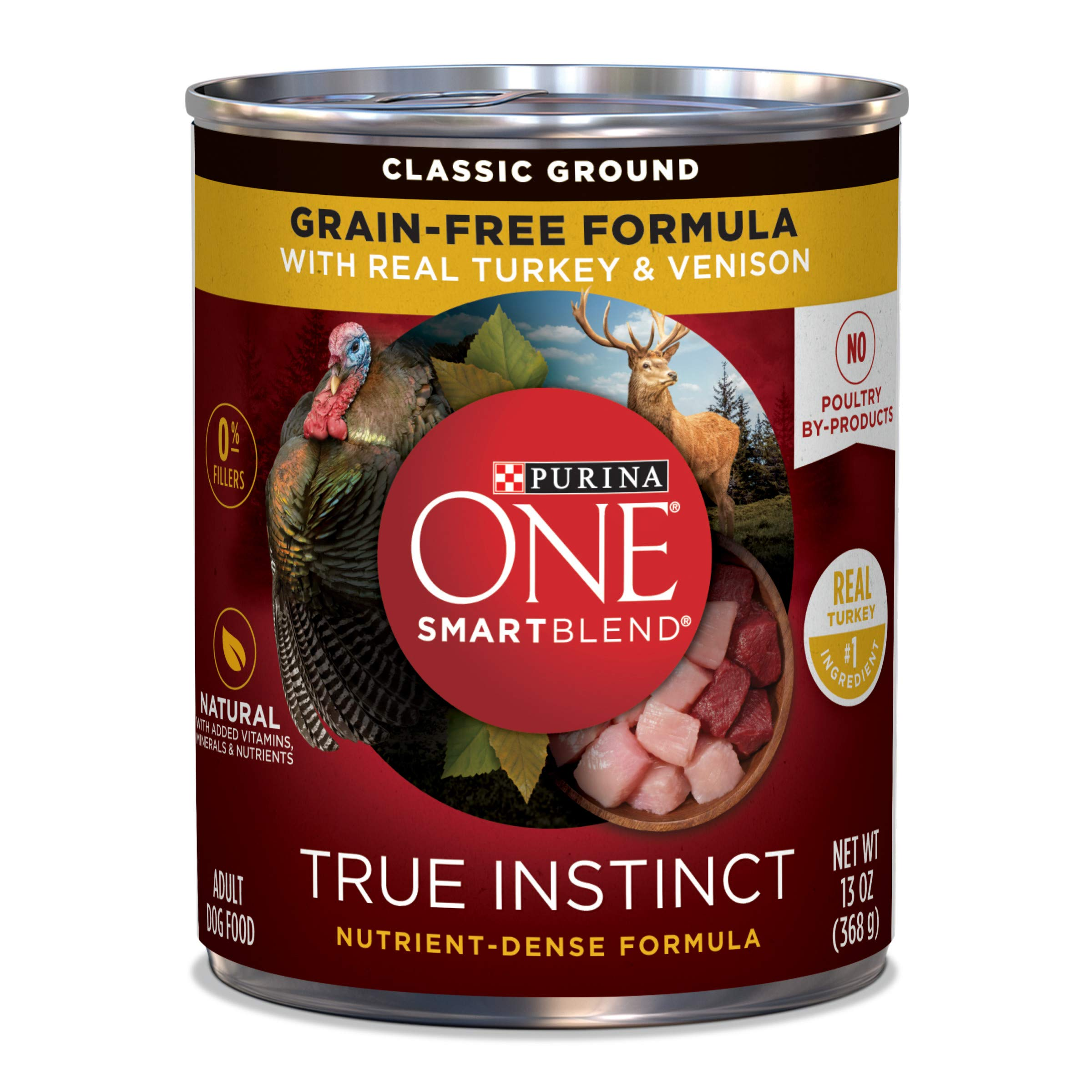 Purina ONE Grain Free, Natural Pate Wet Dog Food, SmartBlend True Instinct With Real Turkey & Venison - (12) 13 oz. Cans by Purina ONE
