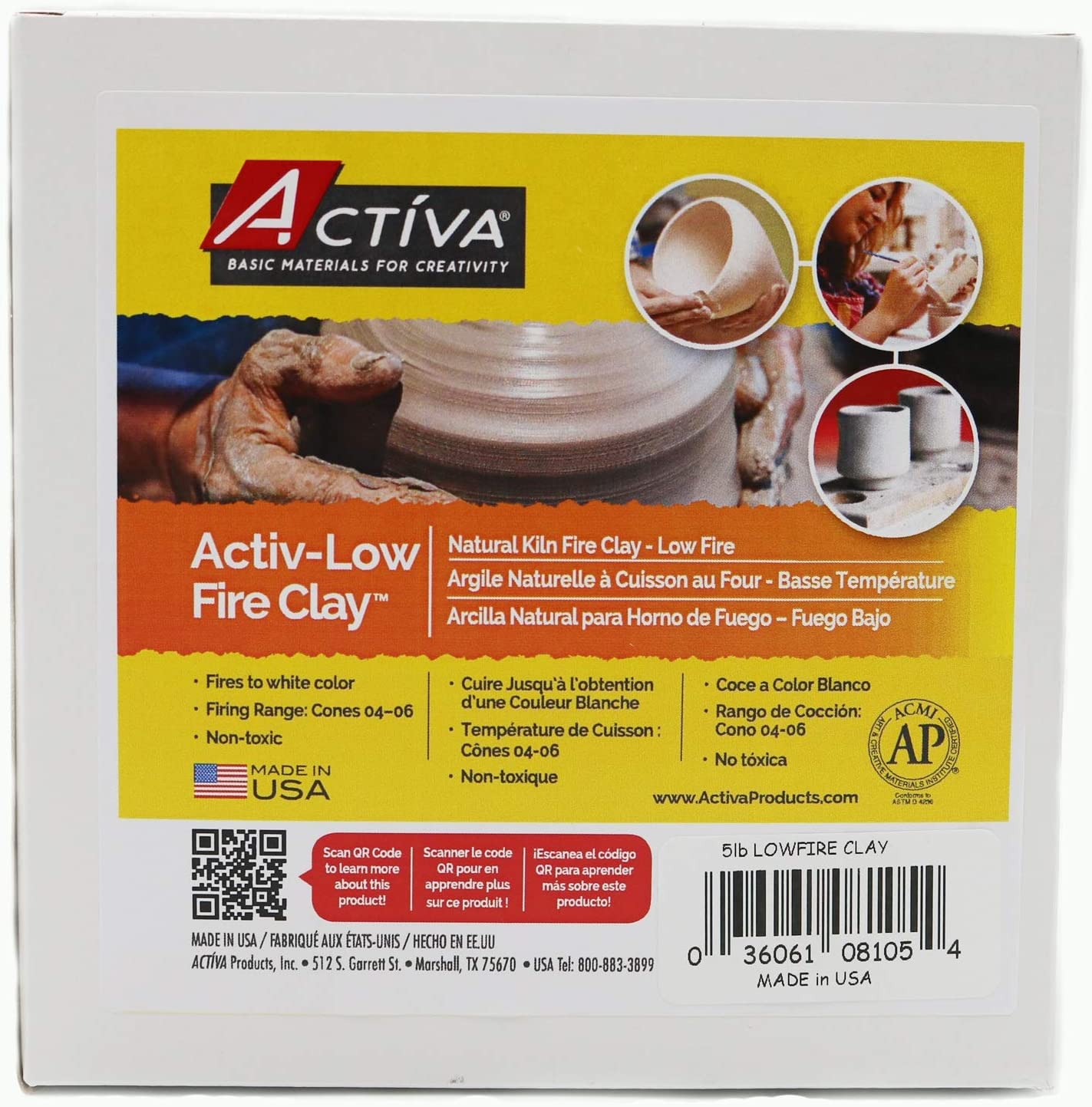 10.53 x 14.7 x 14.7 cm Multicoloured ACTIVA Blackjack Low Fire Clay 5lb-Gray//White Other