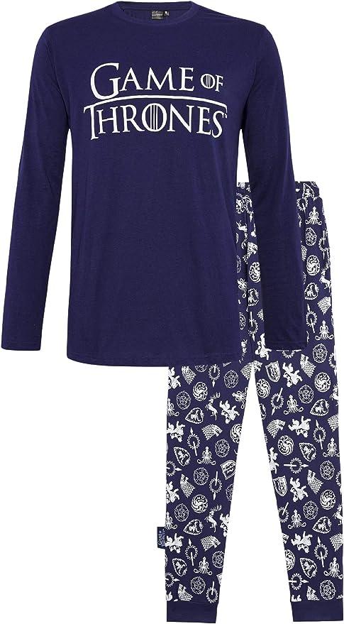 Juego de Tronos Pijama Hombre Mujer Se Acerca el Invierno, Pijamas Dos Piezas de algodón de Manga Larga Invierno, Emblemas de diseño Casas de Juego de Tronos, Regalos para Mujeres Hombres: Amazon.es: