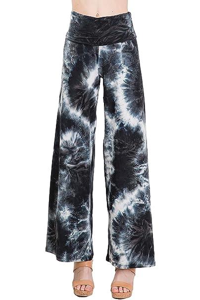 8fc884ef84242b Fashionomics Womens Wide Leg Stretchy Jersey Fabric High Waist Palazzo Pants  (S, BK TD