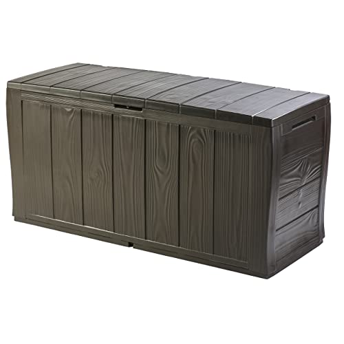 Keter Sherwood Outdoor Plastic Storage Box Garden Furniture, 117 x 45 x 57.5 cm - Brown