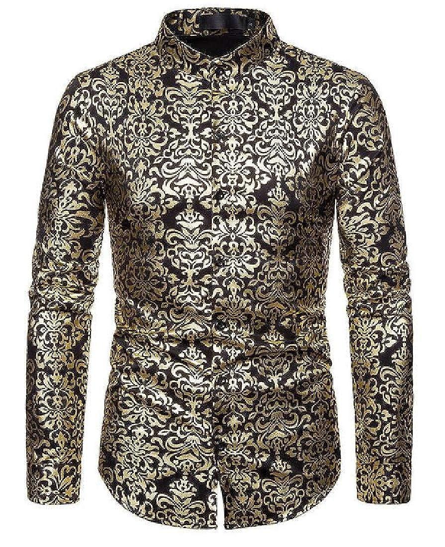 CRYYU Men Casual Long Sleeve Printed Slim Fit Business Button Up Dress Work Shirt