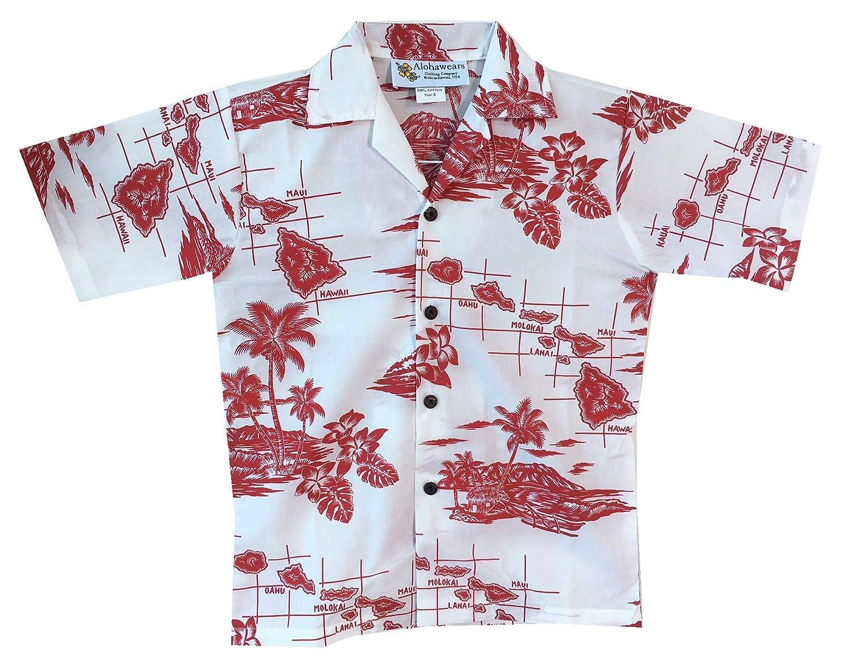 Make in Hawaii Boy's Hawaiian Islands Map Cruise Luau Hawaiian Aloha Shirt