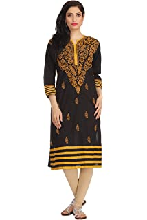 c42be6640b Lucknowi Chikankari Hand Embroidery Regular Wear Women's Cotton Kurta  A149691