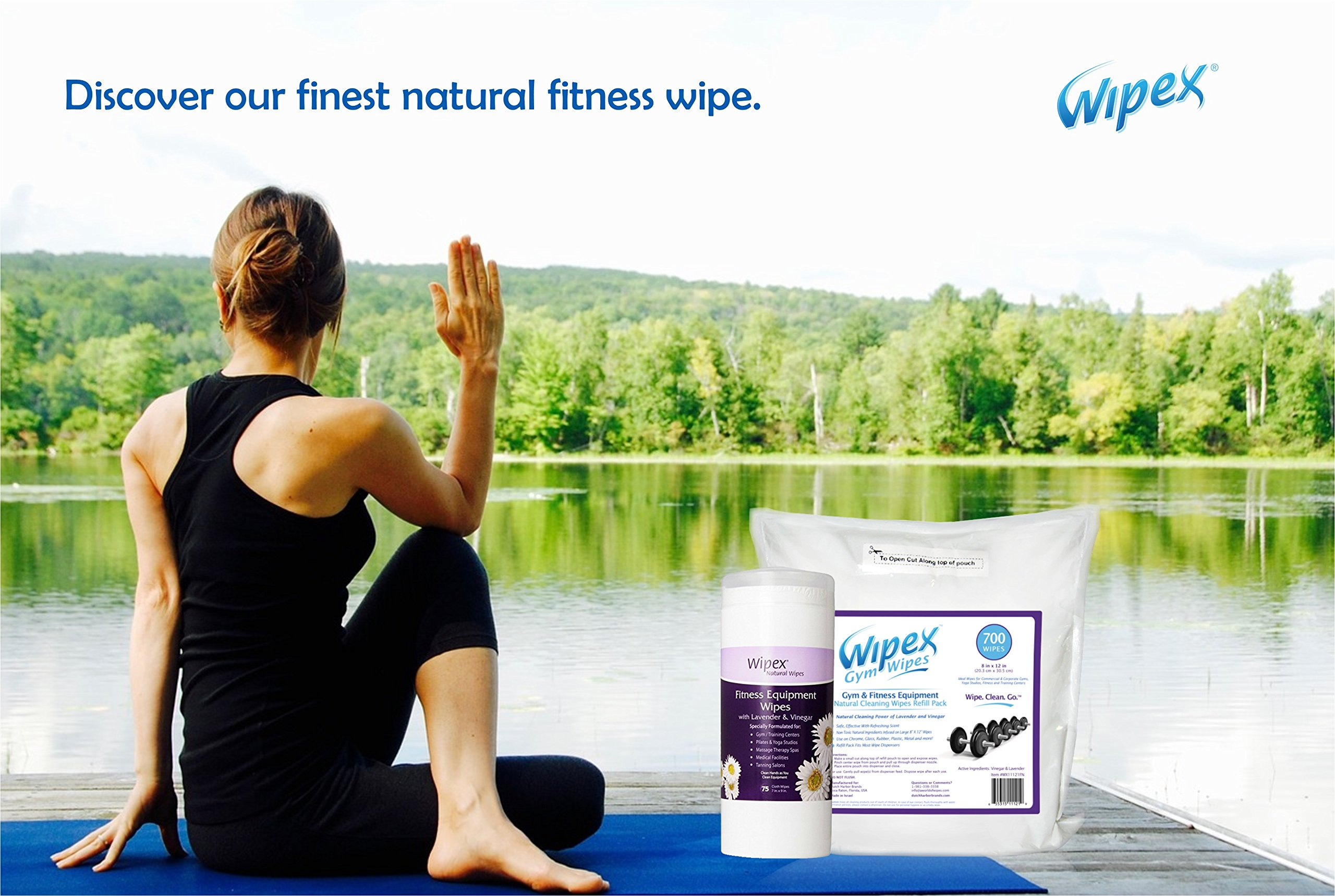 Wipex Gym & Fitness Wipes Refill Pack, 700 Large Natural Wipes Infused with Vinegar & Lavender (4) by Wipex