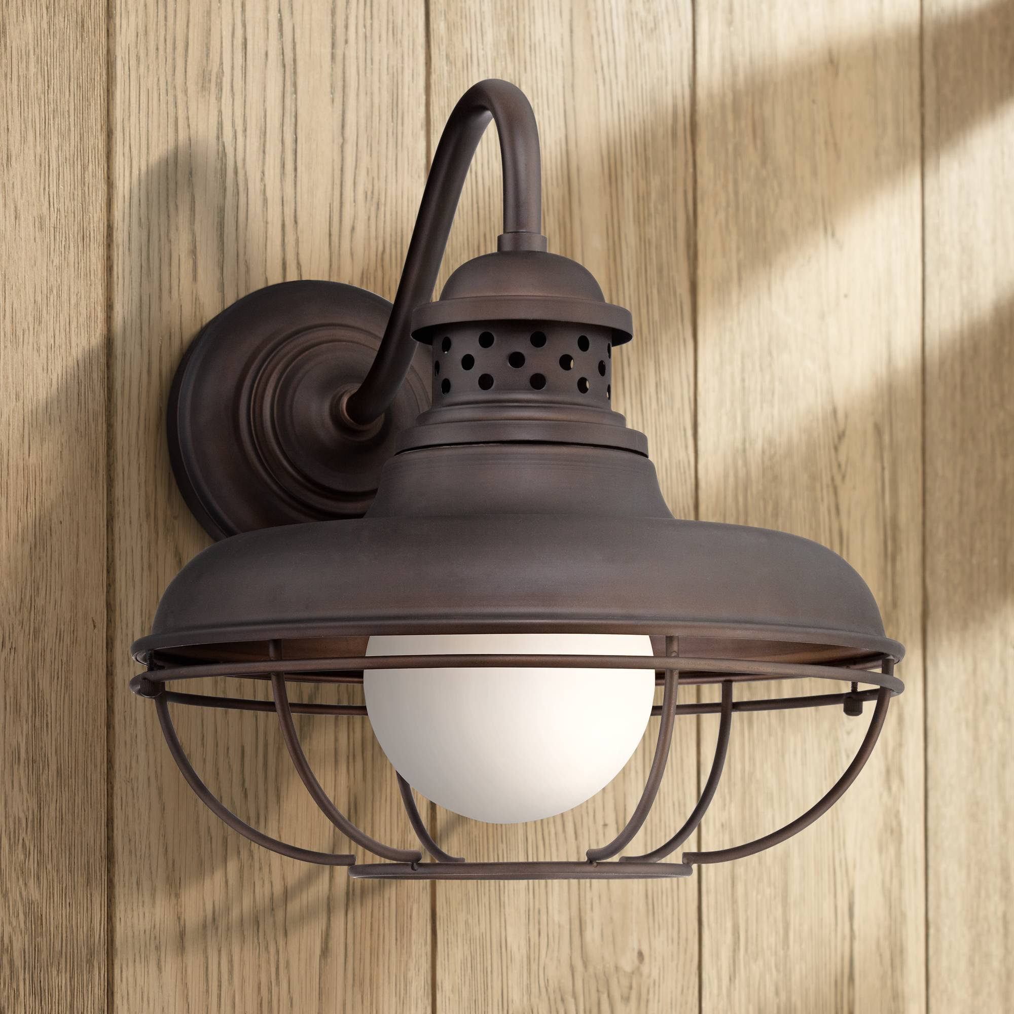 Franklin Park Rustic Farmhouse Outdoor Barn Light Fixture Oil Rubbed Bronze Open Cage 16'' White Glass Orb Diffuser for Exterior House Patio Porch Deck - Franklin Iron Works