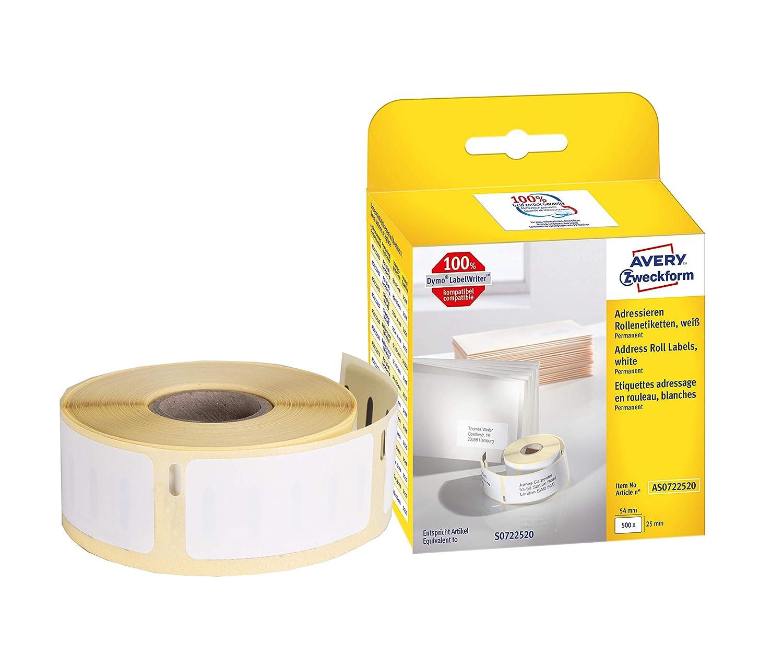 50 Rollen 11352 Etiketten kompatibel zu Dymo LabelWriter /& Seiko Smart Etikettendrucker 500 Label pro Rolle 25mm x 54mm