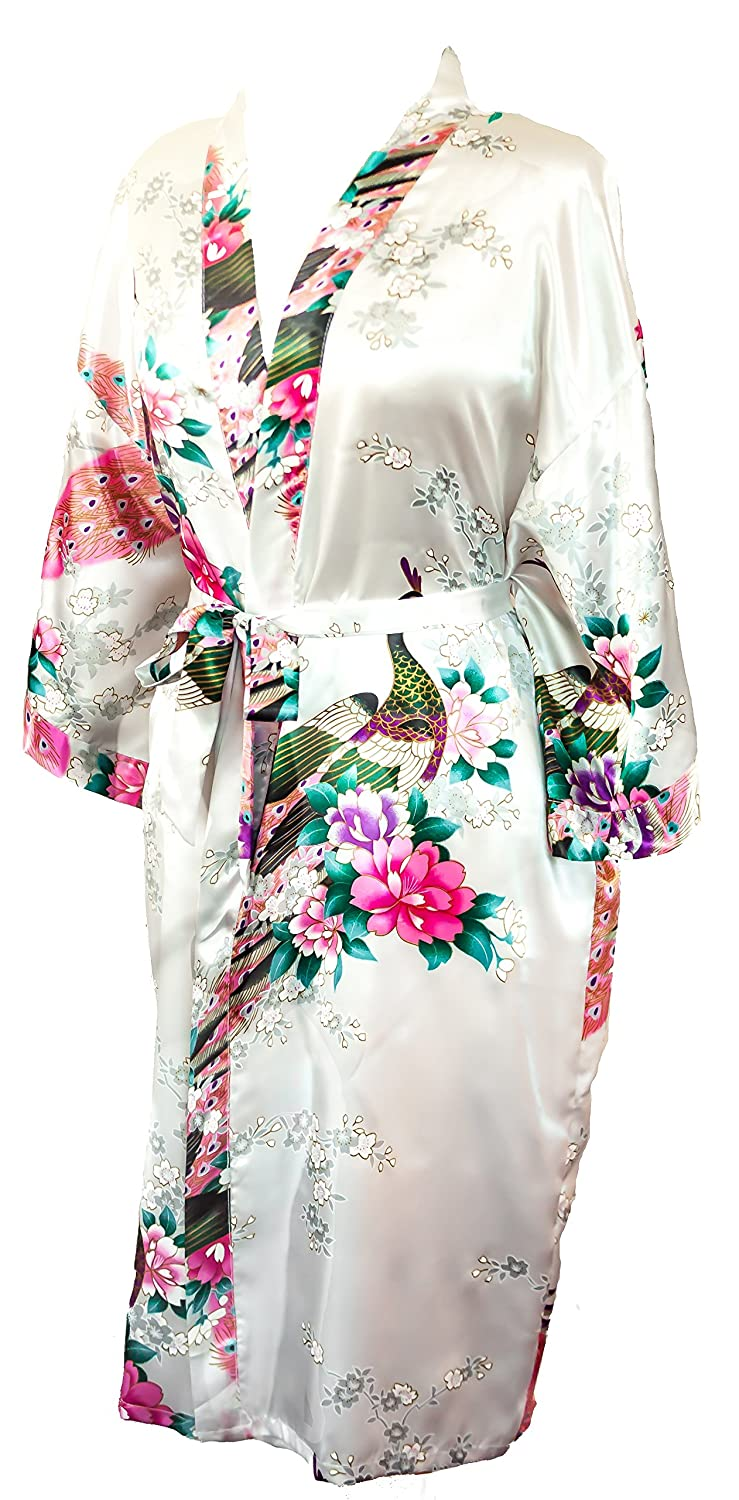 CCcollections Kimono Peacock Premium Dressing Gown Robe Light Weight KM-101