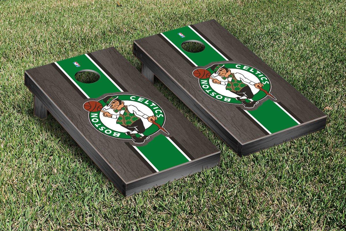 Boston Celtics NBA Basketball Regulation Cornhole Game Set Onyx Stained Stripe Version