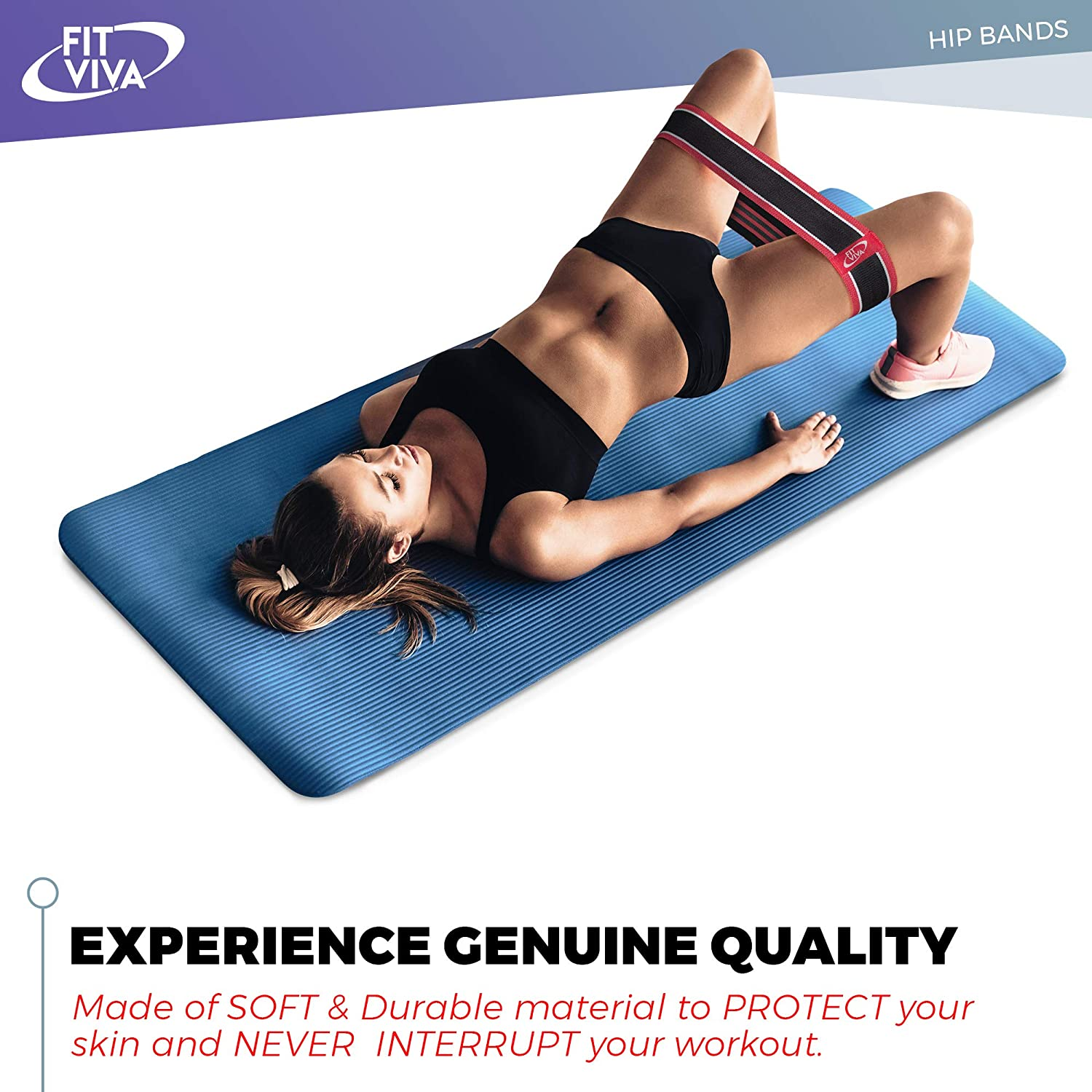 Fabric Resistance Bands Set - Booty Hip Bands for Legs, Shoulders and Arms  Exercises - Perfect for Fitness, Glute or Squat Workout - 3 Non-Rolling
