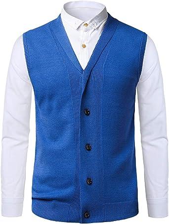 KTWOLEN Hombre Chaleco de Suéter Casual Camiseta sin Mangas con Cuello Chal Color Sólido Cárdigan Invierno Chaleco De Punto