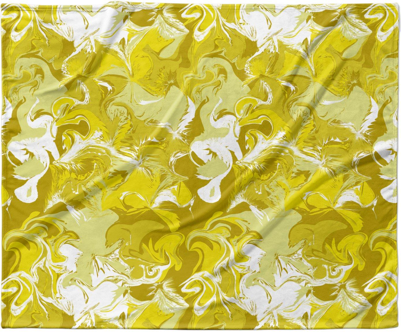 40 x 30 KESS InHouse Anneline Sophia Marbleized In Gold Yellow Fleece Baby Blanket