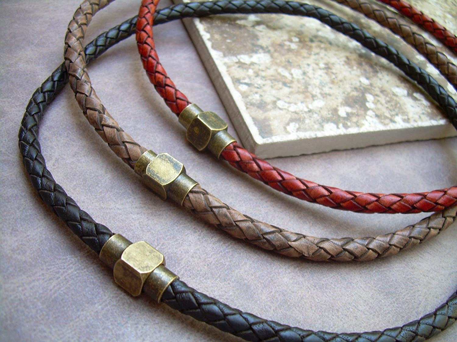 Handmade Mens Braided Leather Necklace with Antique Brass Magnetic Clasp,Leather Necklace, Mens Necklace,Mens Jewelry, Brass, Mens Gift, Gift for Him