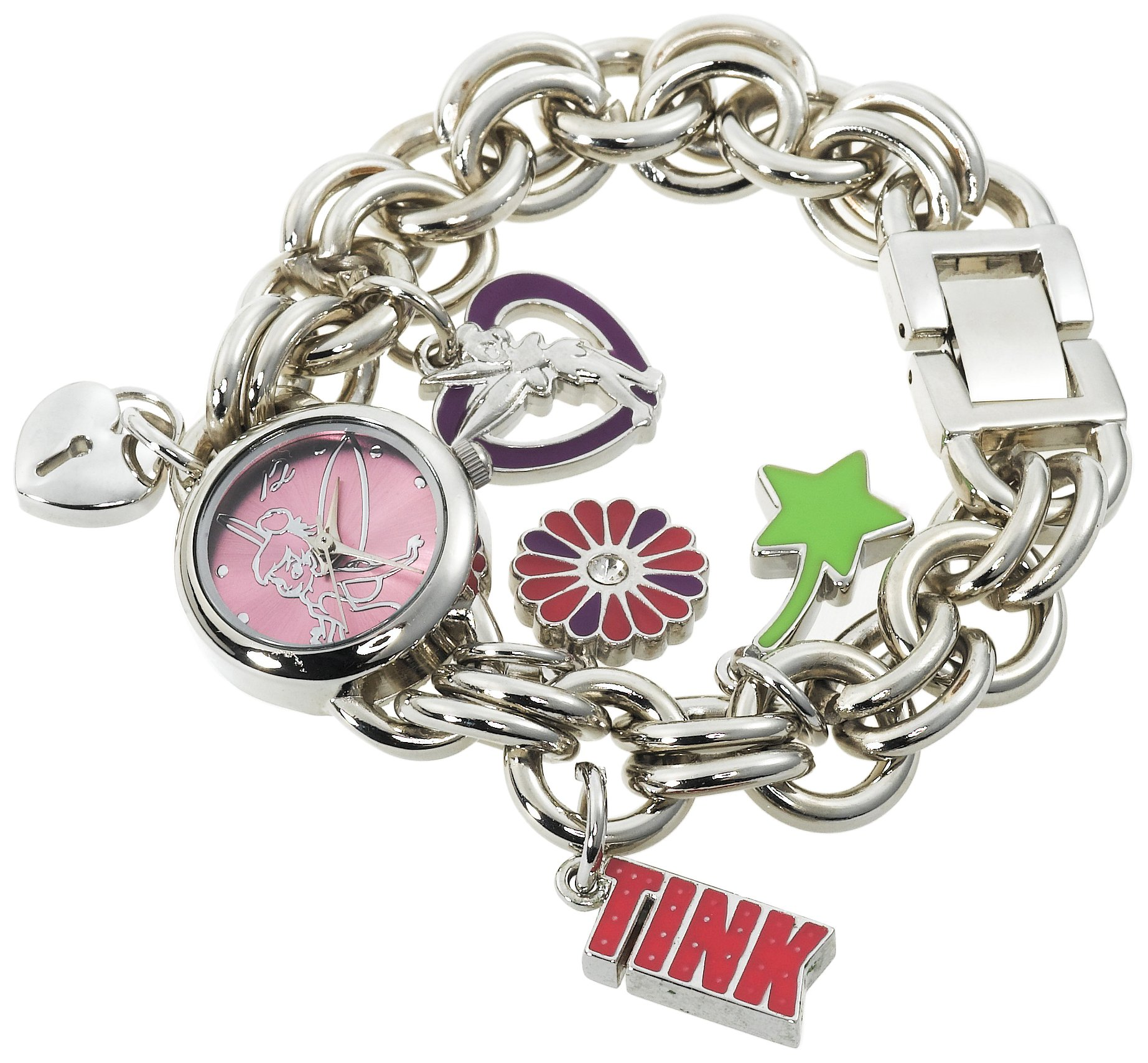 Disney Women's TK2022 Tinkerbell Pink Sunray Dial Charm Bracelet Watch by Disney (Image #2)