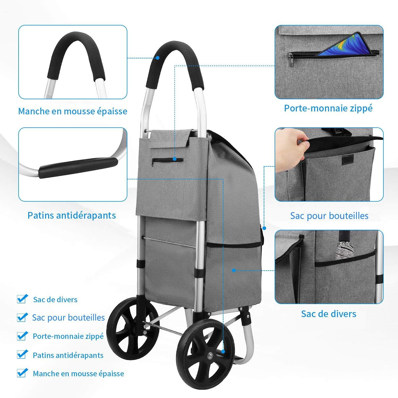Pliable Chariot de transport en aluminium avec sac de transport et sac à provisions