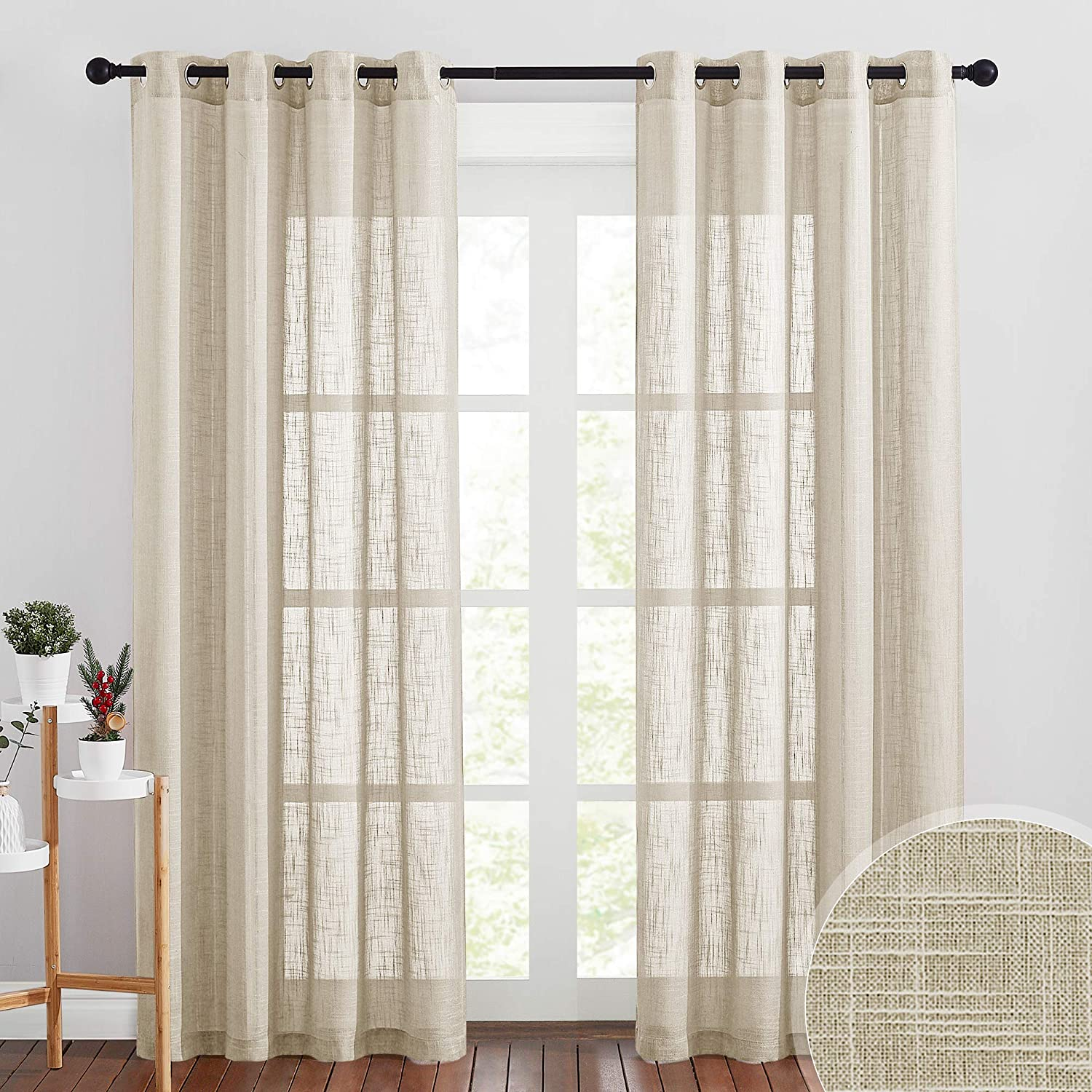 RYB HOME Curtains for Living Room - Subtle Linen Texture Sheet Soften Light for Sunroom Bedroom Family Room Bathroom Sliding Glass Door Window, W 52 x L 90 inch per Panel, 2 Pcs, Taupe