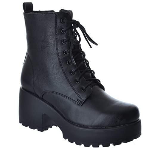 1e687fe7dae Miss Image UK Womens Ladies Army Combat Low MID Block Heel Platform LACE UP  Zip Biker Platform Chunky Ankle Boots Shoes