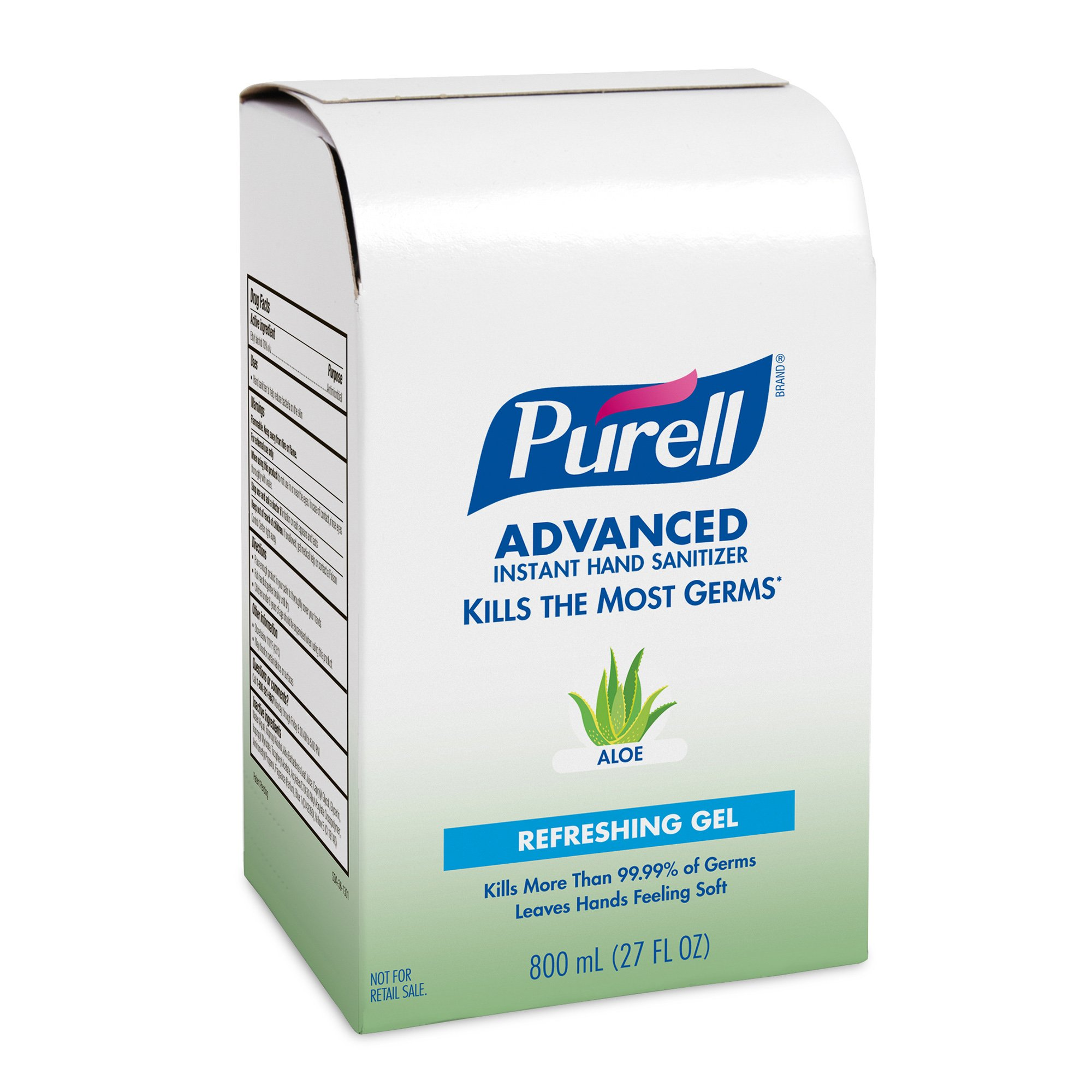 PURELL 9637-12 Advanced Instant Hand Sanitizer with Aloe, 800 mL Refill (Pack of 12)