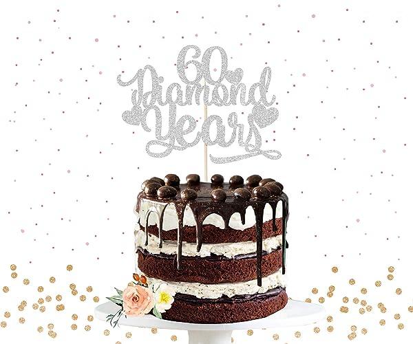 60th Anniversary Cake Topper Diamond Years Cake Topper Anniversary