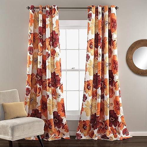 royalmasters Set of 2 Grommet Floral Darkening Window Curtain Panel Set for Living, Dining Room, Bedroom Pair , 84 L Red Orange