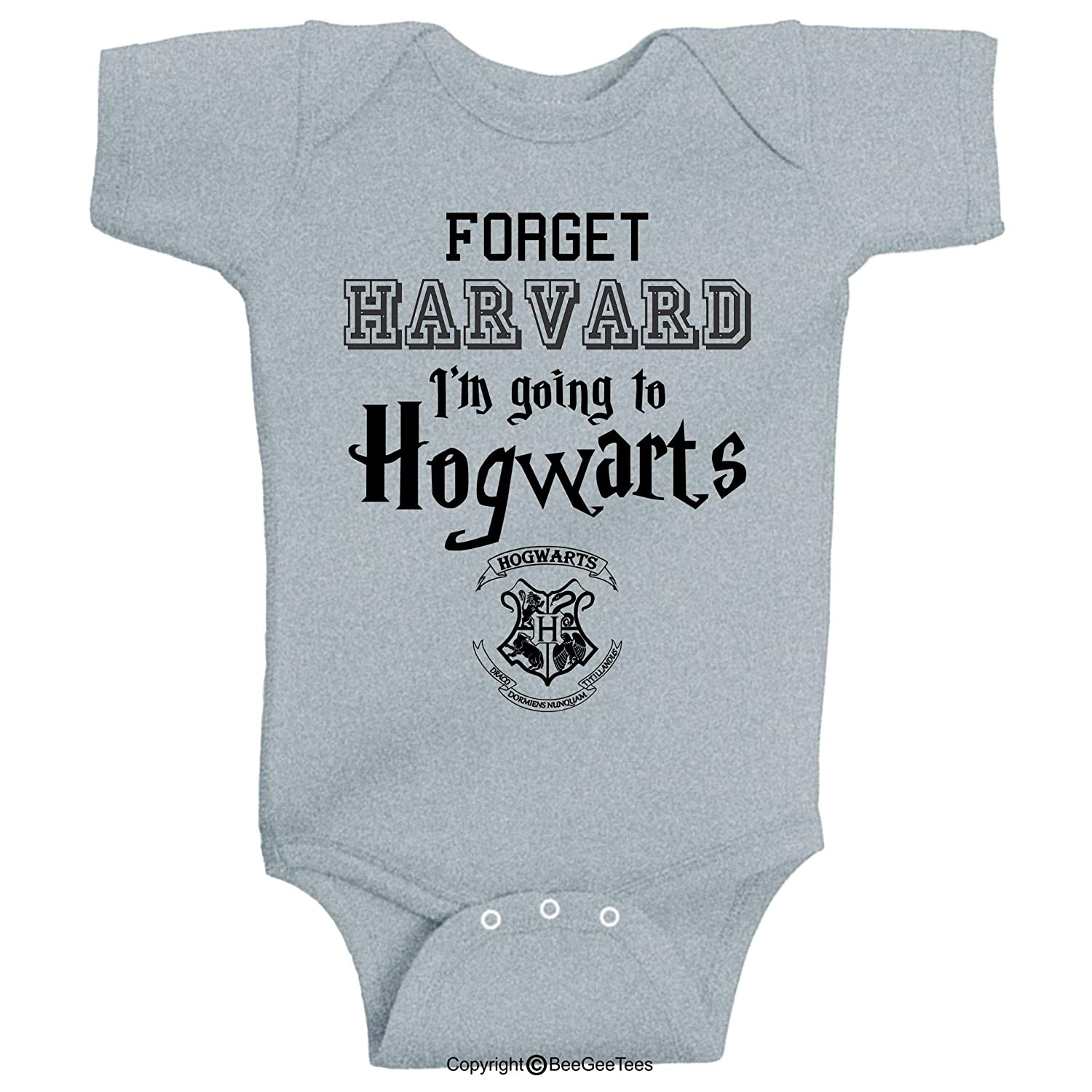 6 Months, White Forget Harvard Im Going to h0gwarts Funny Wizard Baby Wizard Onesie by BeeGeeTees